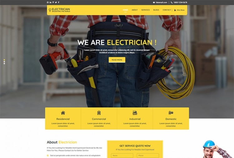 Electrician HTML Template